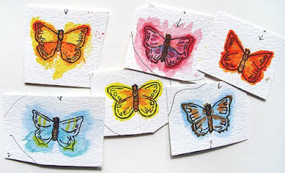 painted butterflies for bead journal project, Robin Atkins