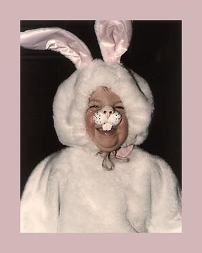 Margaret in bunny costume, print-ready image