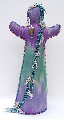 beaded spirit doll by Robin Atkins, Aqua