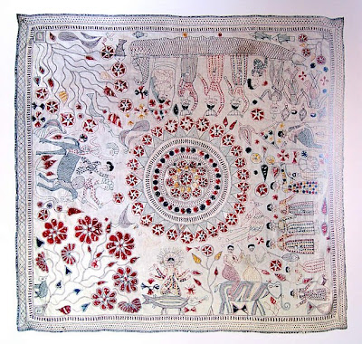Kantha quilt with mandala center