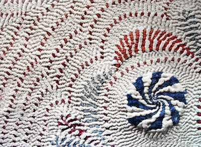 Kantha quilt, embroidery detail
