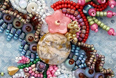 bead embroidery on quilt block by Robin Atkins, bead journal project 2011, detail