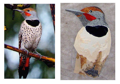 photo of flicker next to in-process fused fabric version by Robin Atkins