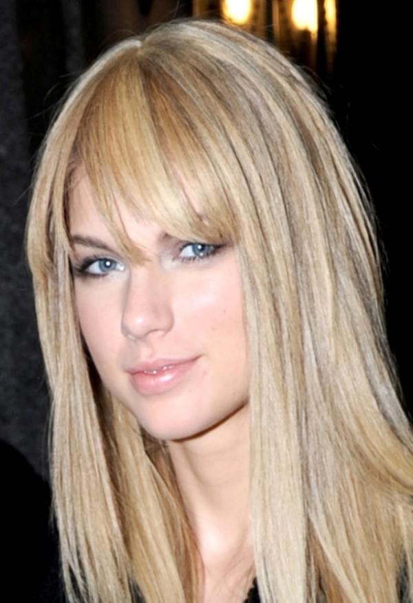 taylor swift straight hair bang