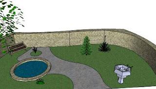 Gotowy projekt ogrodu wykonany przy pomocy Google SketchUP
