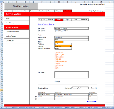 MS Excel Wireframe