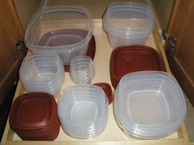 food storage containers organized in my kitchen cabinet