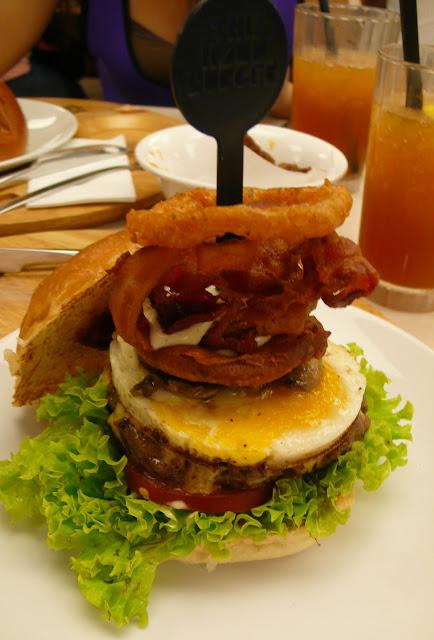 Burger, Onion Rings, Mushrooms, Beef Patty