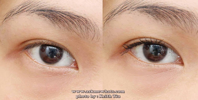 before and after photo using Etude House Proof 10 Henna Fix Mascara in Black