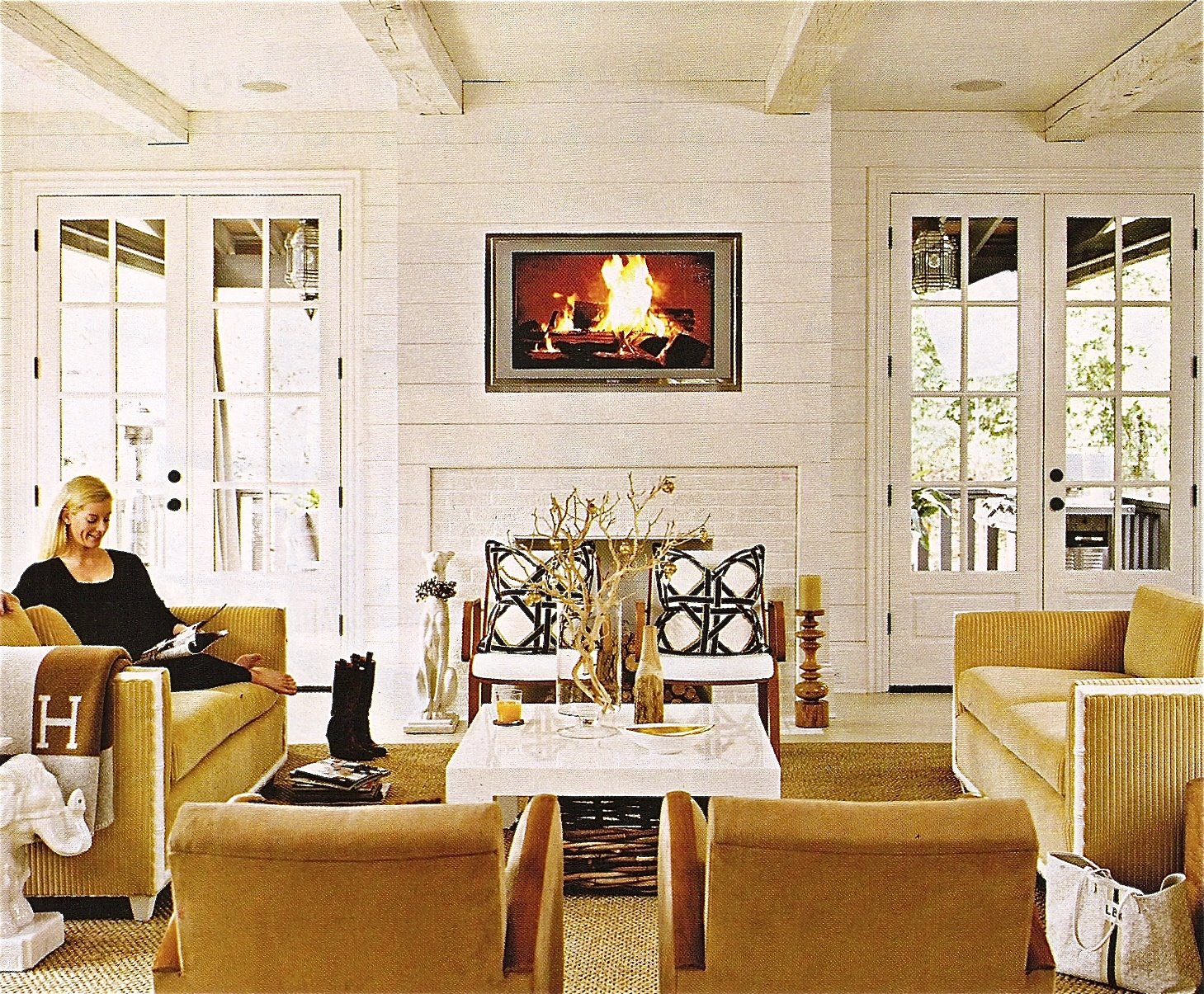 R e c l a i m e d cottage living magazine for Living room doors
