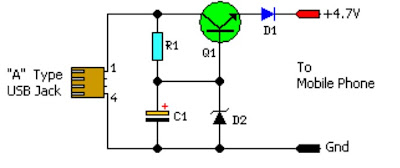 USB Mobile Phone Battery Charger Circuit