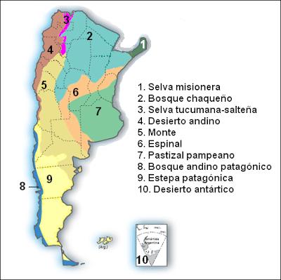 mapa con los biomas de Argentina