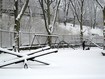 winter snow on the playground