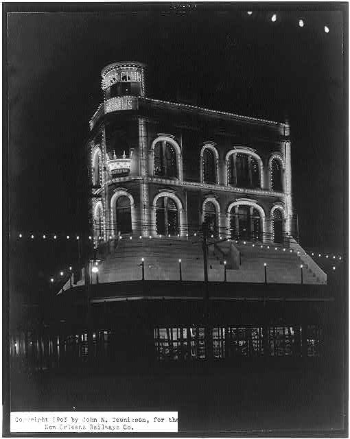Chess Club illuminated. Canal Street, New Orleans, La. Credit Line: Library of Congress, Prints & Photographs Division, [reproduction number, LC-USZ62-63134]