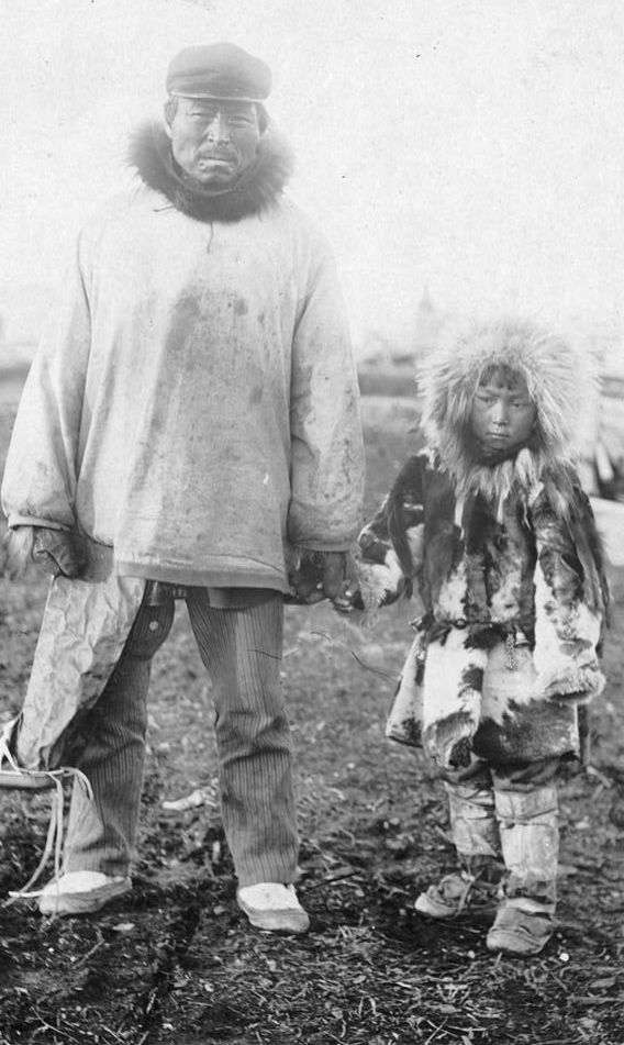 Eskimo father and child