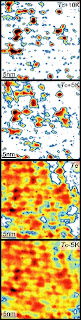 Using a customized microscope, Princeton scientists have mapped the strength of current-carrying electron pairs as they form in a ceramic superconductor. From top to bottom, the images show the same 30-nanometer square region of the ceramic at successively cooler temperatures. Red areas indicate the presence of superconducting pairs. Even at 10 degrees Celsius above Tc, the temperature at which the entire sample exhibits superconductivity, the electron pairs still exist in localized regions (Image courtesy of the Yazdani Group)