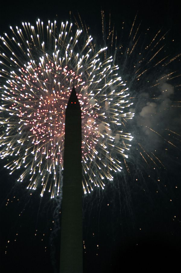 Fireworks burst above the Washington Monument Clip Art