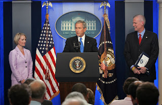 President George W. Bush announces that he has accepted the resignation of Press Secretary Tony Snow and selected Deputy Press Secretary Dana Perino to succeed Mr. Snow as White House Press Secretary Friday, Aug. 31, 2007, in the James S. Brady Press Briefing Room. 'Tony Snow informed me he's leaving. And I sadly accept his desire to leave the White House, and he'll do so on September the 14th,' said President Bush. White House photo by Chris Greenberg