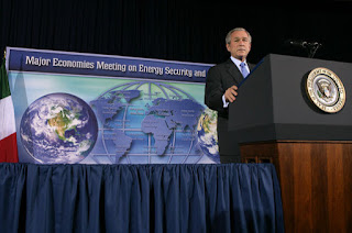 President George W. Bush addresses the Major Economies Meeting on Energy Security and Climate Change Friday, Sept. 28, 2007, at the U.S. State Department. 'Our guiding principle is clear: We must lead the world to produce fewer greenhouse gas emissions, and we must do it in a way that does not undermine economic growth or prevent nations from delivering greater prosperity for their people,' said President Bush. White House photo by Chris Greenberg