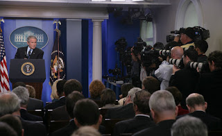 Members of the White House media focus their cameras on President George W. Bush Thursday, Sept. 20, 2007, during a morning press conference in the James S. Brady Briefing Room of the White House. White House photo by Chris Greenberg.