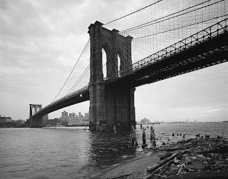 Brooklyn Bridge, View looking SE from Manhattan shore at twilight. Jet Lowe, photographer, 1982.  HAER NY,31-NEYO,90-14