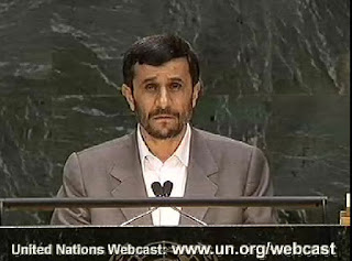 President of Iran Addresses General Debate   Mahmoud Ahmadinejad, President of the Islamic Republic of Iran, addresses the general debate of the sixty-secomd session of the General Assembly, 09.25.07 at UN Headquarters. Location: United Nations, New York, Date: 25 September 2007, Photo : Vidcap.