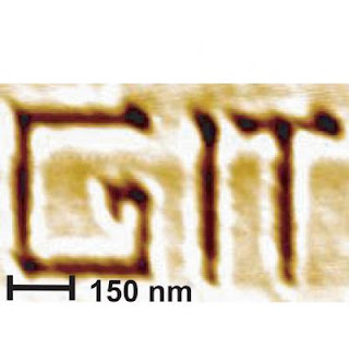 Caption: The initials for the Georgia Institute of Technology written with the thermochemical nanolithography technique. Credit: Georgia Tech. Usage Restrictions: None.