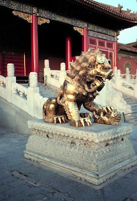 Gilded bronze guard lion Forbidden City, Beijing.China