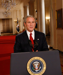 President George W. Bush addresses the nation from the East Room of the White House