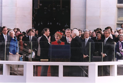President Reagan being sworn in on Inaugural Day