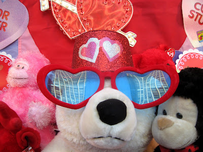 Valentine's Day Stuffed Animals. A store display of many breeds of