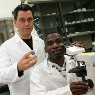 archaeologist Julio Mercader and Mozambican student Mussa Raja