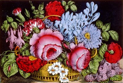 Flower basket Currier and Ives