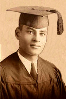 Ralph J. Bunche in his graduation robes, 1927.