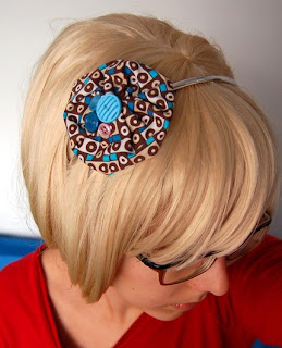 Blue and brown cassette HEADBAND