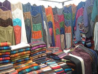 Clothing stall, Otavalo market.