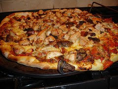 Chicken, Mushroom, Bacon Pizza from scratch