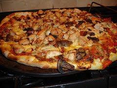 Chicken, Mushroom, Bacon Pizza from scratch