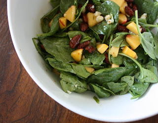 Spinach Salad with Peachs & Candied Almonds