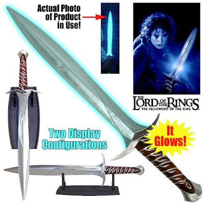 glowing fx collectible frodo sting sword replica lord of the rings toy