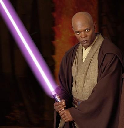 Samuel l Jackson light saber