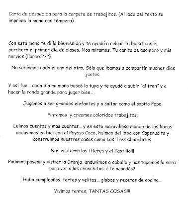 Carta de despedida para la carpeta de los trabajitos♥