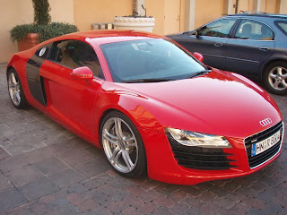 The German Made Audi R8 Red Color Car Picture - Front Side View