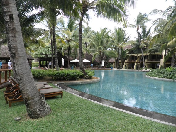 Piscine dans le jardin tropical