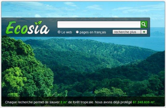 Ecosia moteur de recherche indépendant à but non lucratif