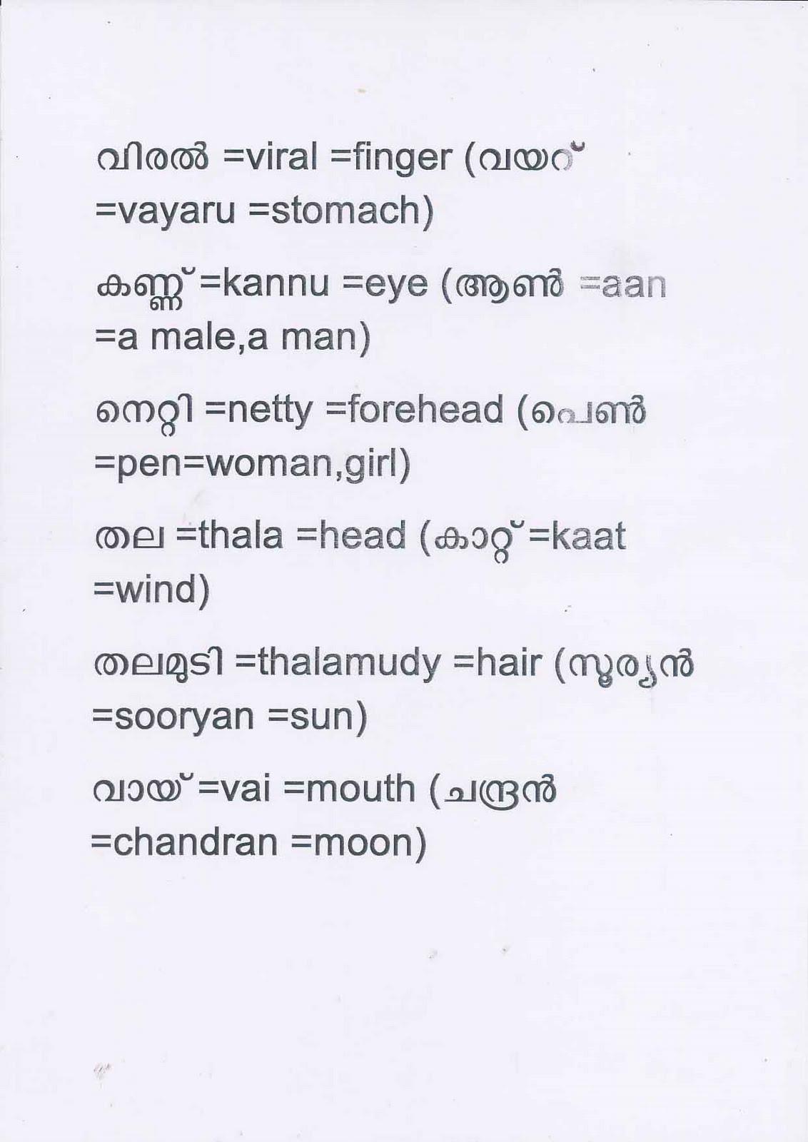 SPEAK MALAYALAM WELL: 9)Malayala Vakkukal(Malayalam words)