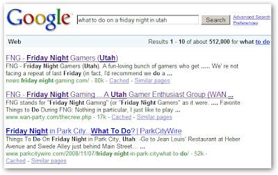 Google: what to do on a friday night in utah