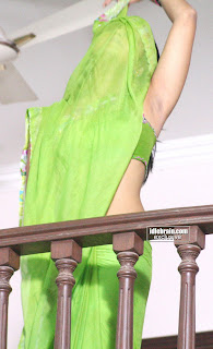 Anushka Shetty in Green Transparent Saree