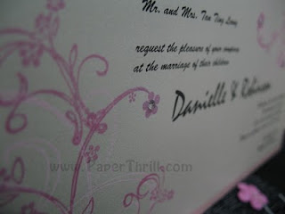Delightful cherry blossom handmade wedding invitation