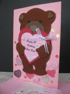 Bear handmade pop up birthday card
